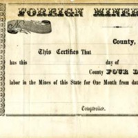 Foreign Miner's License